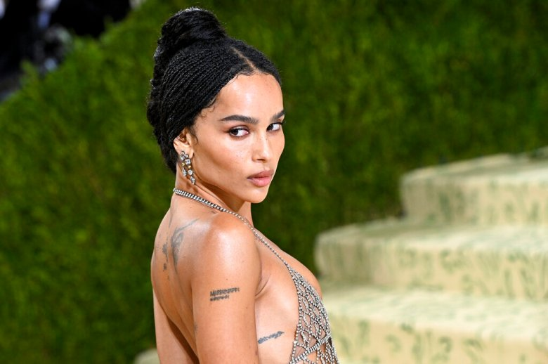 Actress Zoë Kravitz walking on the red carpet at the 2021 Metropolitan Museum of Art Costume Institute Gala celebrating the opening of the exhibition titled In America: A Lexicon of Fashion held at the Metropolitan Museum of Art in New York, NY on September 13, 2021. (Photo by Anthony Behar/Sipa USA)(Sipa via AP Images)