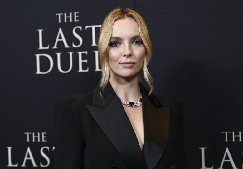 """Actor Jodie Comer attends the premiere of """"The Last Duel"""" at Rose Theater at Jazz at Lincoln Center on Saturday, Oct. 9, 2021, in New York. (Photo by Evan Agostini/Invision/AP)"""