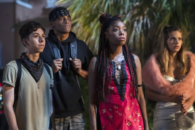BLACK AS NIGHT, (aka WELCOME TO THE BLUMHOUSE: BLACK AS NIGHT), from left: Fabrizio Guido, Mason Beauchamp, Asjha Cooper, Abbie Gayle, 2021. ph: Alfonso Bresiani / © Amazon Prime Video / courtesy Everett Collection