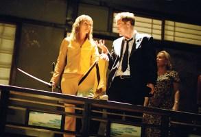 KILL BILL: VOLUME 2, Uma Thurman, director Quentin Tarantino on-set,  2004, (c) Miramax/courtesy Everett Collection