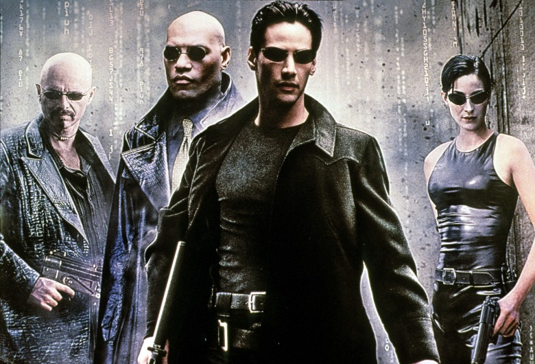 THE MATRIX, Joe Pantoliano, Laurence Fishburne, Keanu Reeves, Carrie-Anne Moss, 1999. ©Warner Bros./Courtesy Everett Collection (image upgradedto 17.6 x 12 in)