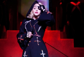 Pictured: Madonna performing during the Madame X Tour of the Paramount+ original movie MADAME X. Photo Cr: Ricardo Gomes ©2021 Paramount+, Inc. All Rights Reserved.