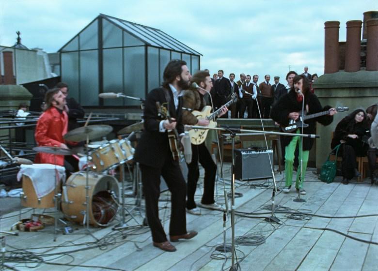 Ringo Starr, Paul McCartney, John Lennon, and George Harrison in THE BEATLES: GET BACK. Photo courtesy of Apple Corps Ltd.