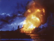 USS Arizona explodes at Pearl Harbor after Japanese attack, Dec. 7, 1941. (BSLOC_2013_11_140)